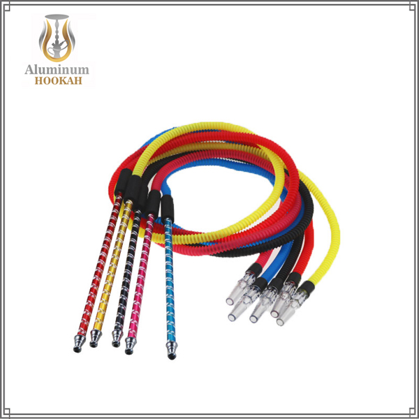 New selling one-time use long aluminum handle cheap shisha hookah hose