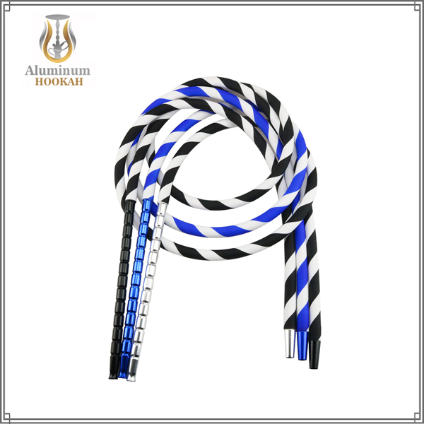 factory narguile wholesale shisha accessories silicone hookah hose with aluminum hookah handle